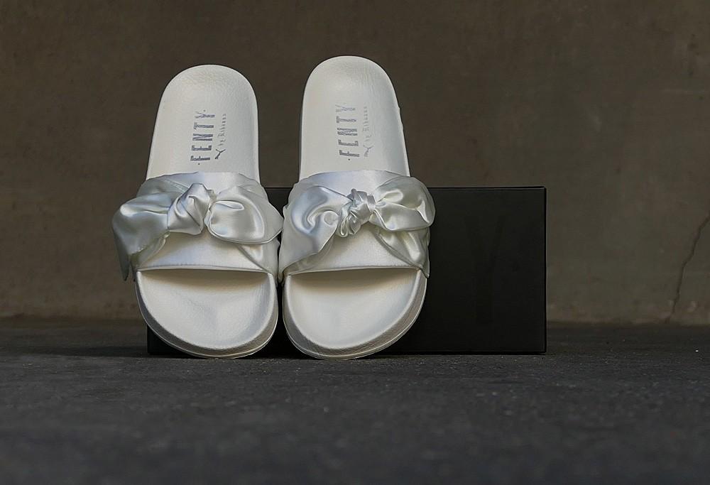 size 40 f7843 1932e Puma Fenty Bow Slide by Rihanna Satin Marshmallow/Silver