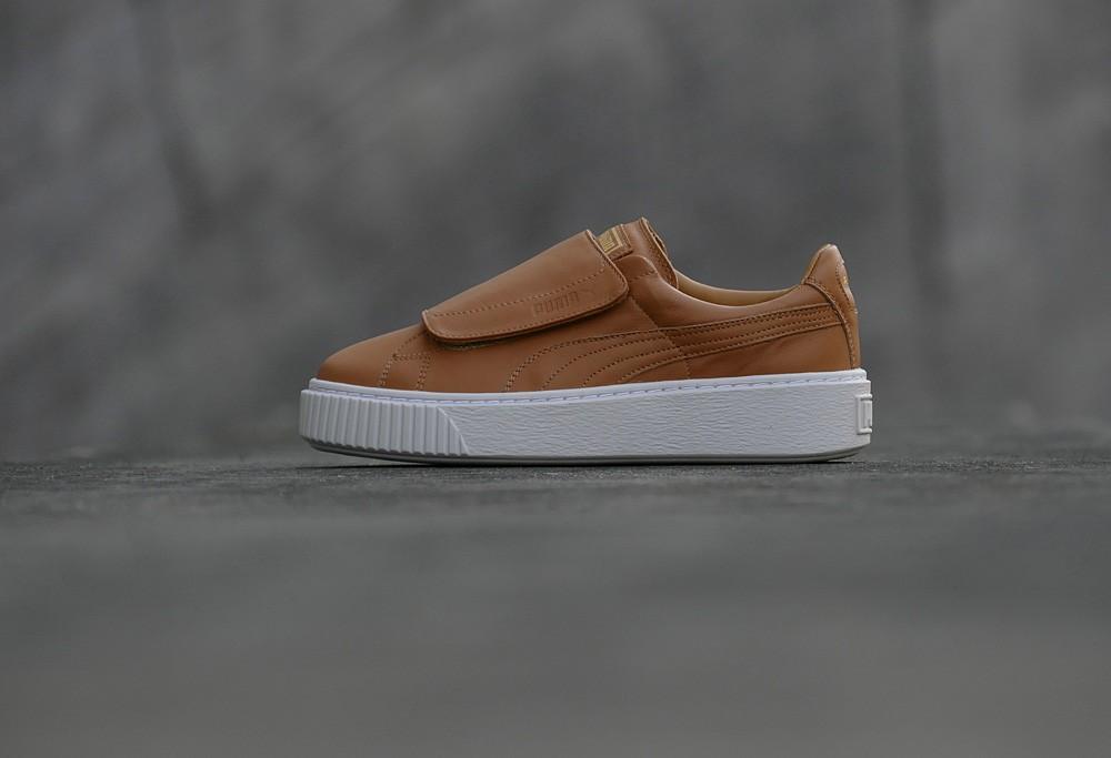 puma basket leather platform sneakers