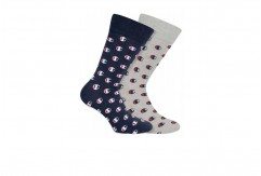 Chaussettes Champion navy & grey small logo x2