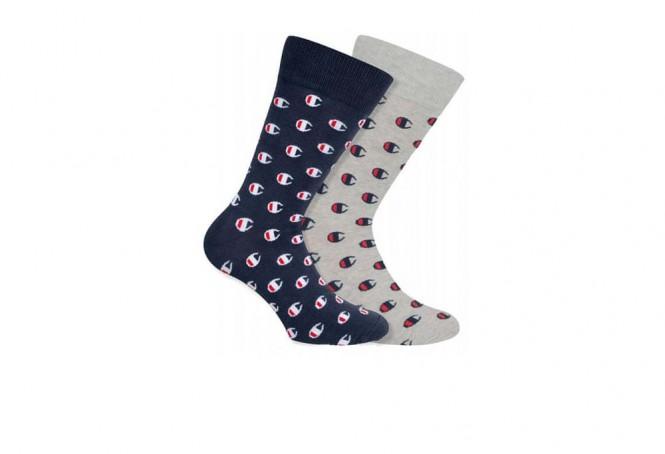 Champion socks navy & grey small logo x2